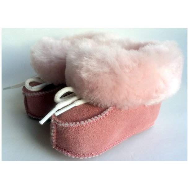 Lammeskindsfutter med uldfor og med pelskant pink